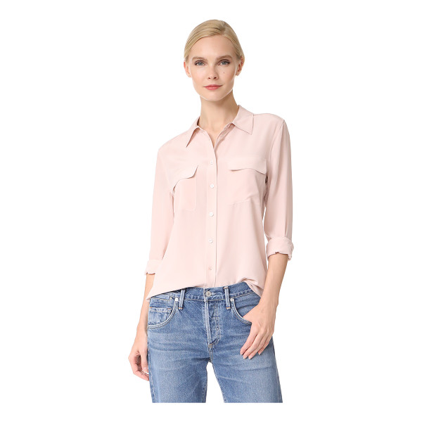 EQUIPMENT slim signature blouse - A classic Equipment shirt in fine silk. Flap front pockets....