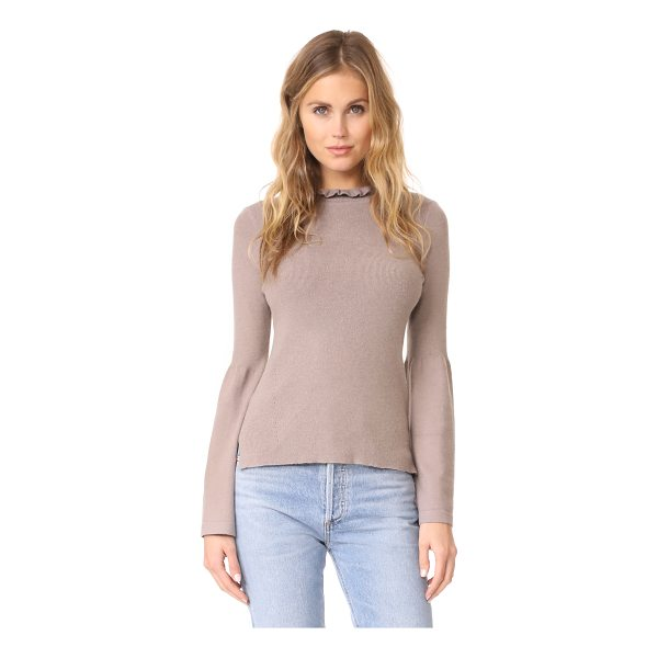 EVIDNT frilled neck top with bell cuffs - This formfitting EVIDNT sweater has a flounced ruffle...