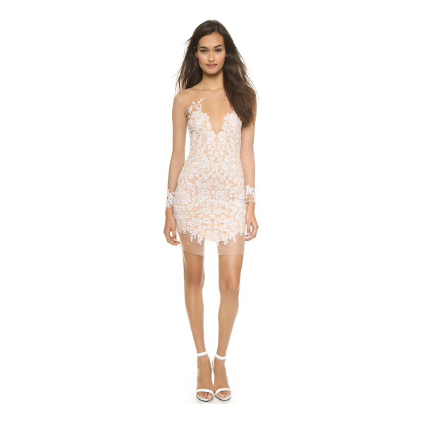 FOR LOVE & LEMONS Luau mini dress - Floral embroidery on sheer tulle lends dark allure to a...