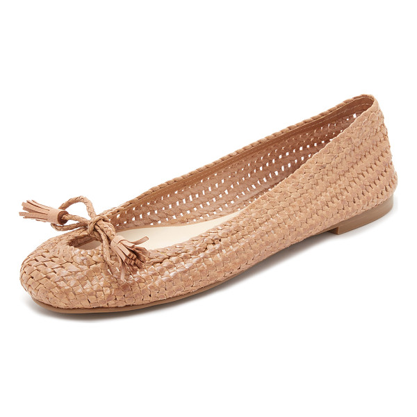 FRANCES VALENTINE Emma woven flats - Tasseled ties close the front cutout on these woven leather...