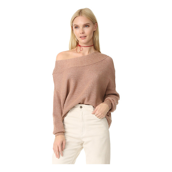 FREE PEOPLE alana sweater - Fine-knit banding trims the wide neckline and cuffs on this...