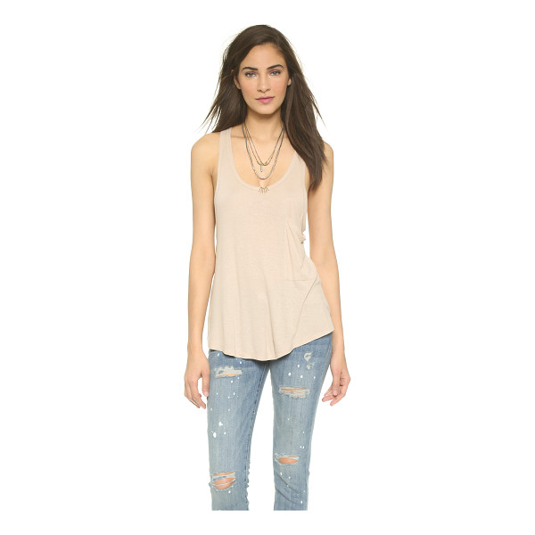 FREE PEOPLE Draped pocket tank - Slinky fabric and a flared silhouette lend effortless drape...