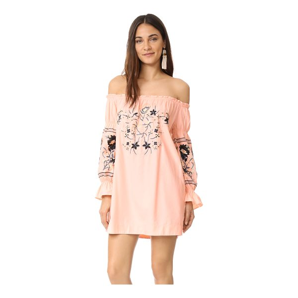 FREE PEOPLE fleur du jour mini dress - Folk-inspired floral embroidery details the yoke and puff...