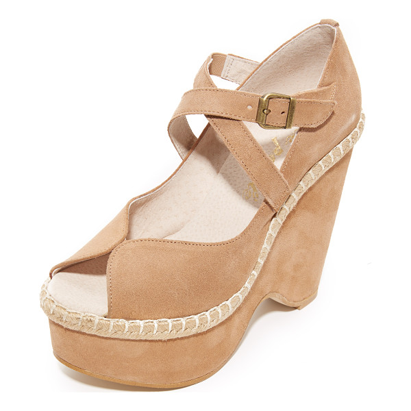 FREE PEOPLE terrace platform wedges - A sculpted platform adds dramatic lift to these suede Free