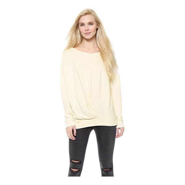 FREE PEOPLE French terry draped pullover - Clean pleats angle across the front of a slouchy french...
