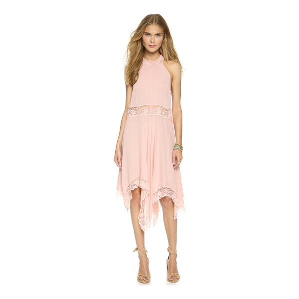 FREE PEOPLE Go lightly gauze & lace dress - A flowy Free People dress with sheer lace at the waist and...