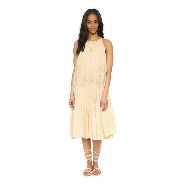 FREE PEOPLE Jar of hearts midi embroidered dress - Flocked dots and shutter pleats lend feminine detail to...