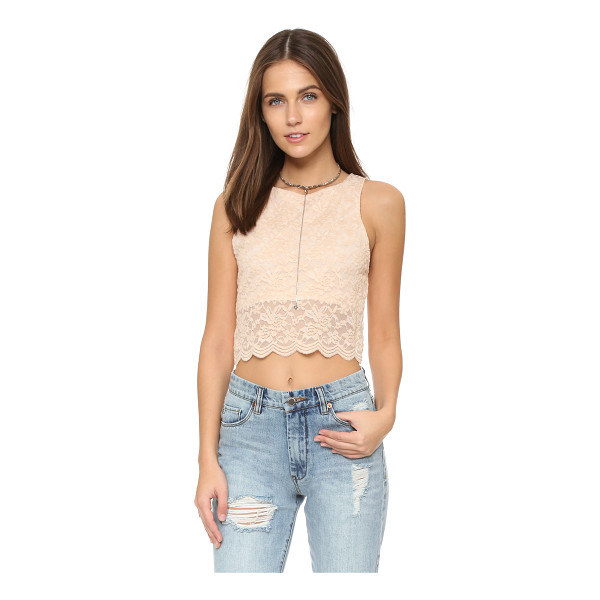 FREE PEOPLE Lace crop tank - A lace overlay details this Free People crop top. Back...