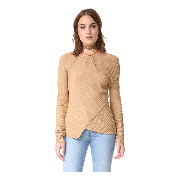FREE PEOPLE love and harmony sweater - Tonal piping trims the angular seams on this asymmetrical,...