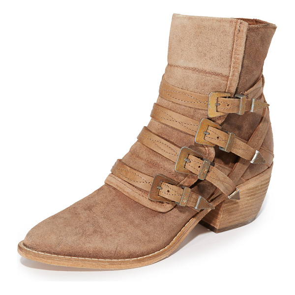 FREE PEOPLE mason western booties - Buckle straps secure the split shaft on these pointed toe