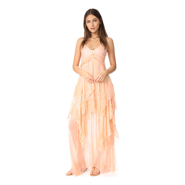 FREE PEOPLE midnight rendezvous maxi dress - Airy tiers lend fluid movement to this metallic Free People...
