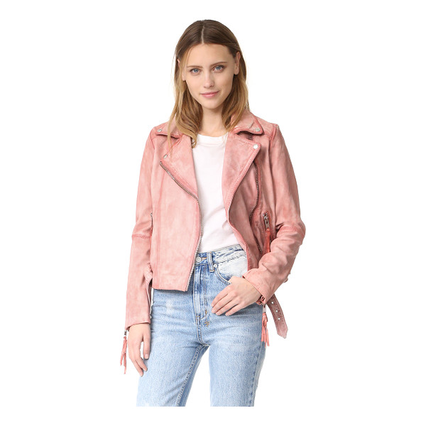 FREE PEOPLE pink leather moto jacket - A mottled wash lends a watercolor-streaked effect to this...