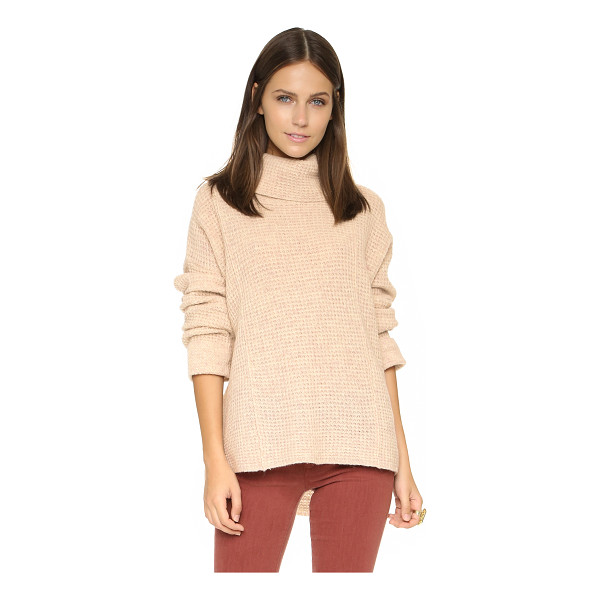 FREE PEOPLE Sidewinder pullover - A slouchy neck and waffle knit panels accent this cozy Free...