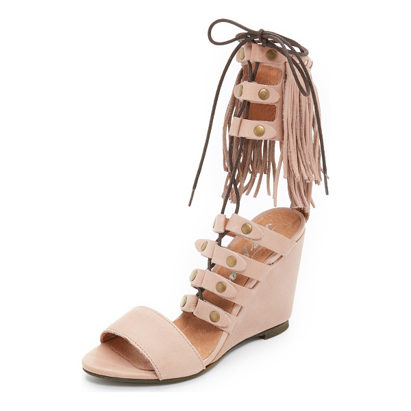 FREE PEOPLE Solstice fringe wedges - Fringe accents the cuff of these smooth leather Free People...