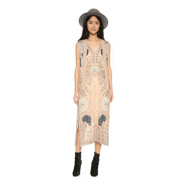FREE PEOPLE Stuck on you maxi dress - Floral appliqués and dense clusters of beads embellish this...