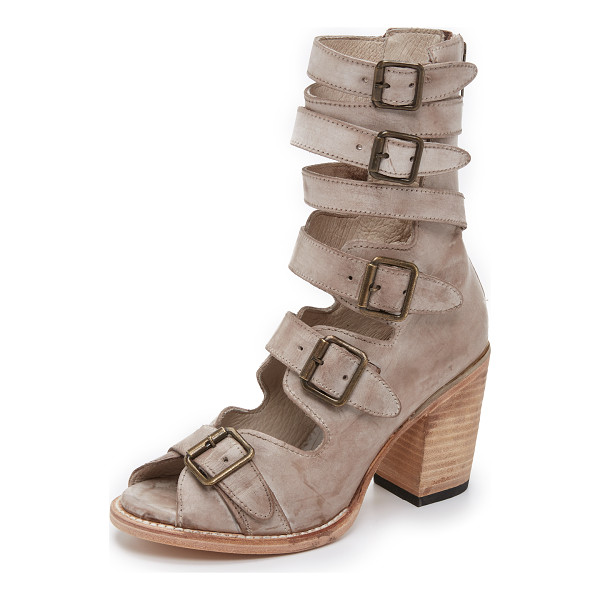 FREEBIRD BY STEVEN Bond sandals - Distressed leather straps and antiqued buckle closures give...