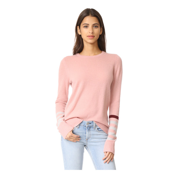 FREECITY strike sleeve cashmere sweater - Contrast stripes and an intarsia bird detail the long...
