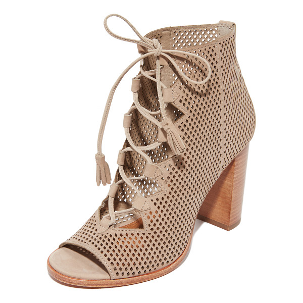 FRYE gabby perf ghillie open toe booties - Perforated leather Frye open-toe booties styled with zigzag