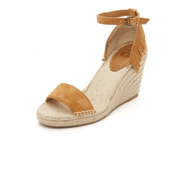 FRYE Lila feather wedges - A fringed heel updates these suede Frye wedges. Buckle
