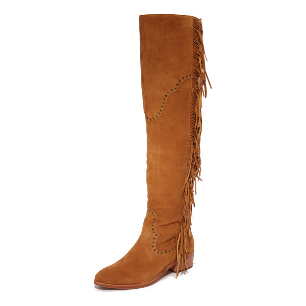 FRYE ray fringe over the knee boots - Fringe and grommets add a western feel to these suede Frye...