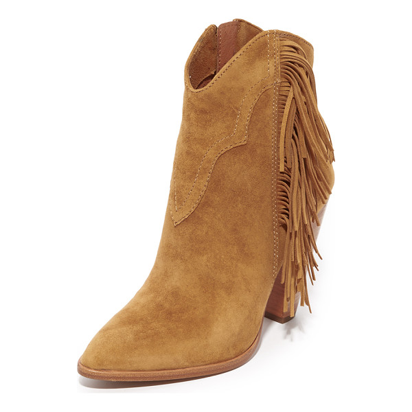 FRYE remy fringe short booties - Fringe and topstitching add a western flair to these...