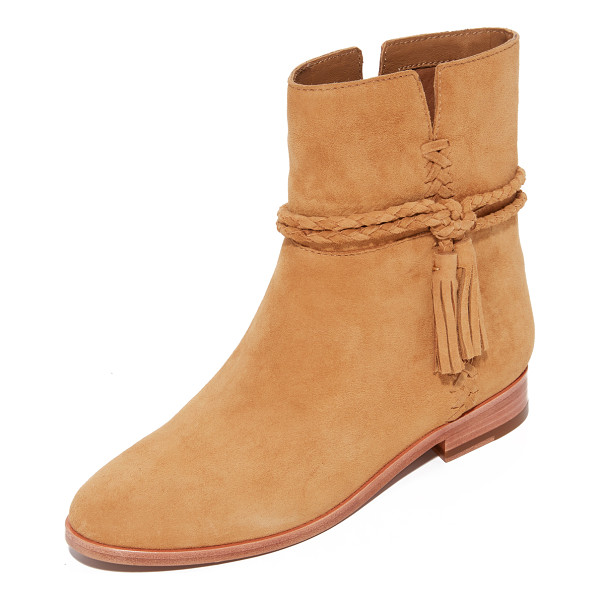 FRYE tina whipstitch tassel booties - Whipstitching accents the notched sides of these smooth...