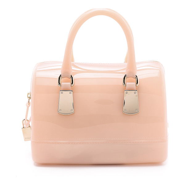 FURLA Candy cookie mini satchel - A structured Furla tote, rendered in high gloss rubber. A...