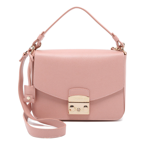 FURLA Metropolis small shoulder bag - A structured Furla bag in pebbled leather. The polished...