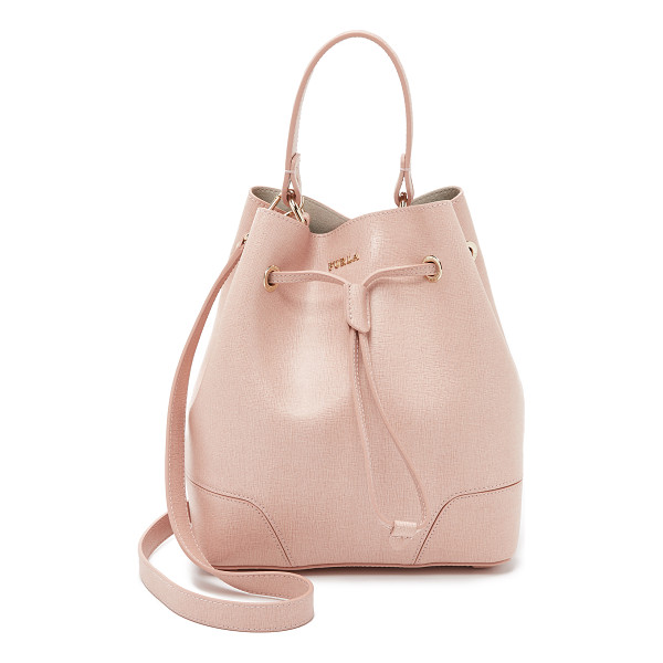 FURLA Stacy small drawstring bucket bag - A petite Furla bucket bag in glossy, textured leather.