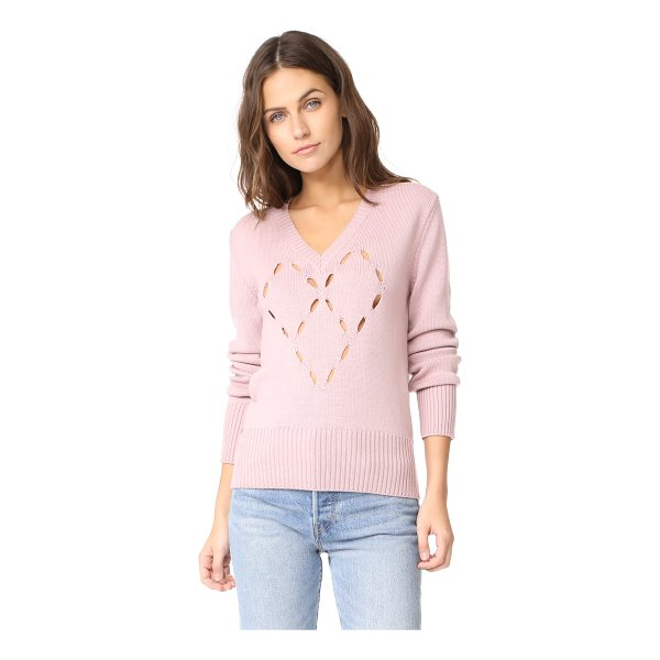 FUZZI heart sweater - Small holes form a charming heart graphic on this soft...