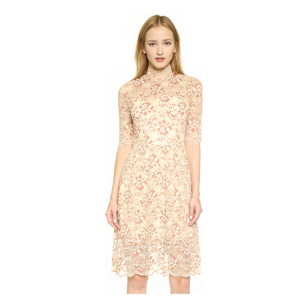 GANNI Adelaide turtleneck lace dress - Contrast embroidery lends depth to the floral lace shell of...