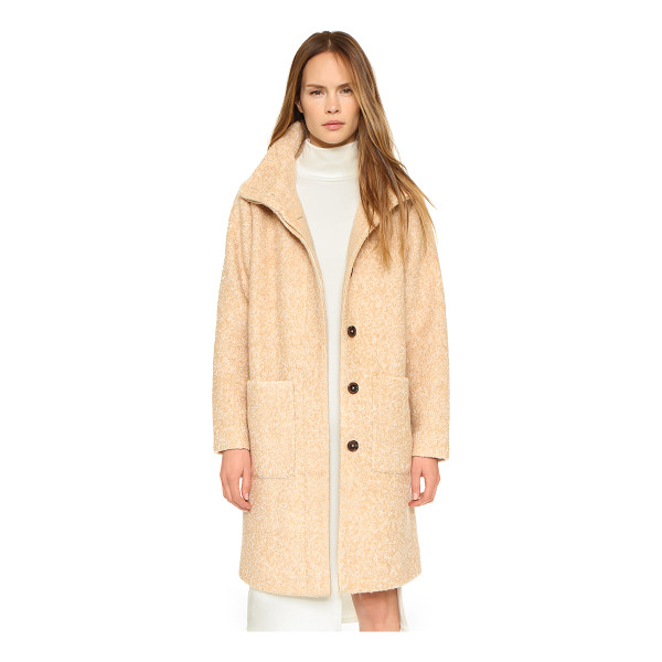 GANNI Long washington street coat - A cozy Ganni mock neck jacket in a fuzzy bouclé weave....