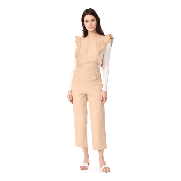 GANNI phillips jumpsuit - NOTE: Runs large. Ruffles trim the sides of this structured...