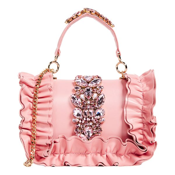 GEDEBE bibi top handle bag - Tiered ruffles and glittering crystals add glamorous style