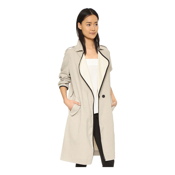 GIADA FORTE Trench coat with leather - A crisp, lightweight Giada Forte coat in a loose profile....