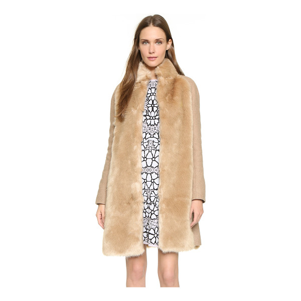 GIAMBA Faux fur panel coat - Soft faux fur lends a luxe element to this camel Giamba...
