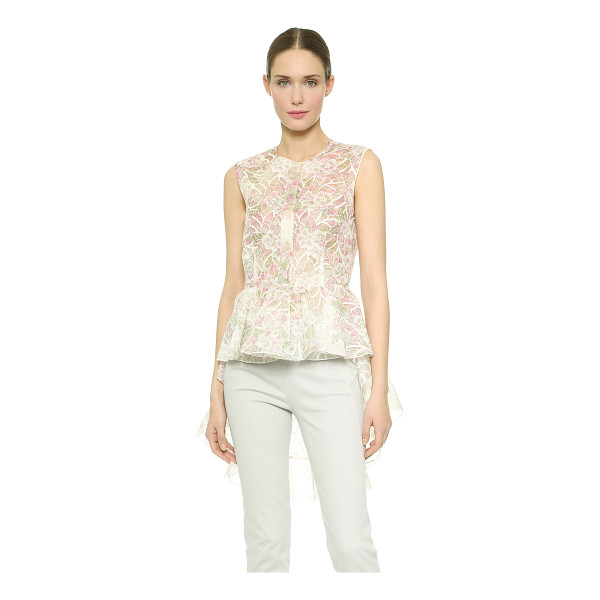 GIAMBATTISTA VALLI Embroidered peplum top - Dainty coloring and floral embroidery infuse this romantic...