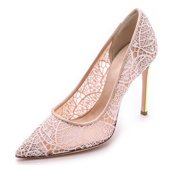 GIAMBATTISTA VALLI Lace pumps with iridescent heel - Delicate lace composes an elegant pair of pointed toe