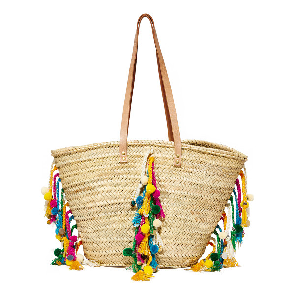 GISELLE deva tote - Colorful, braided tassels and pom-poms add bohemian style...