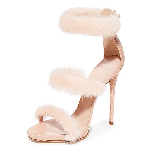 GIUSEPPE ZANOTTI coline sandal heel with fur - A trio of fur-lined straps bring texture to these bold