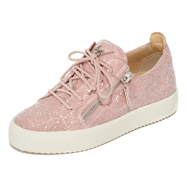 GIUSEPPE ZANOTTI glitter sneakers - Exposed zips add an edgy feel to these glam,...