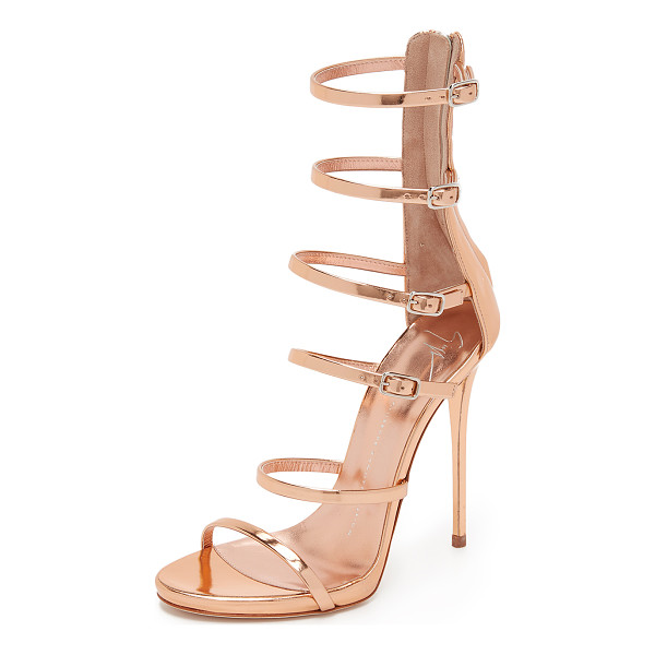 GIUSEPPE ZANOTTI Strappy sandals - Mirrored leather composes the slim buckle straps on these...