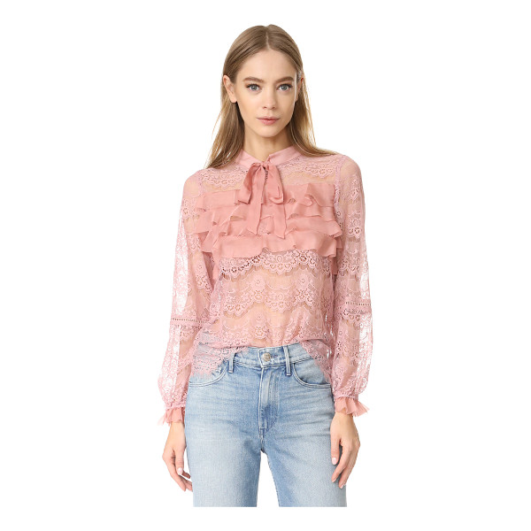 GLAMOROUS ruffle lace blouse - A sheer Glamorous blouse rendered delicate lace with...