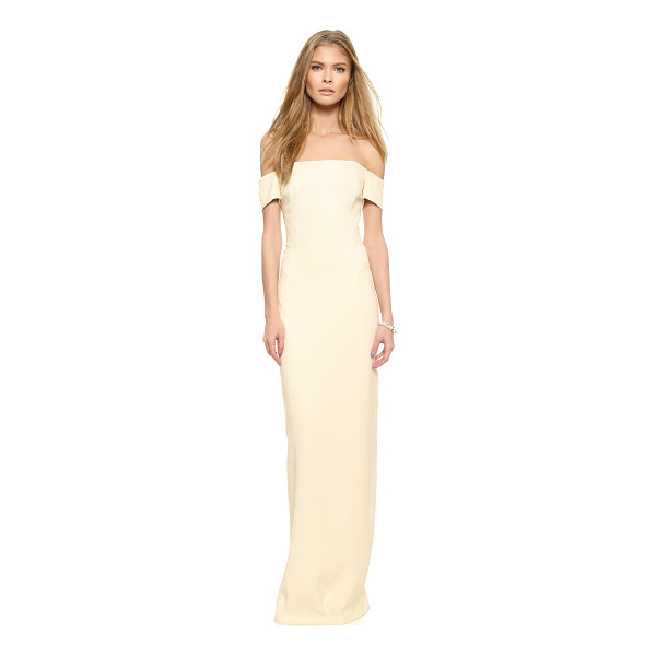 GRACE Adrianna off the shoulder long dress - Tonal panels lend clean lines to the contoured profile of...