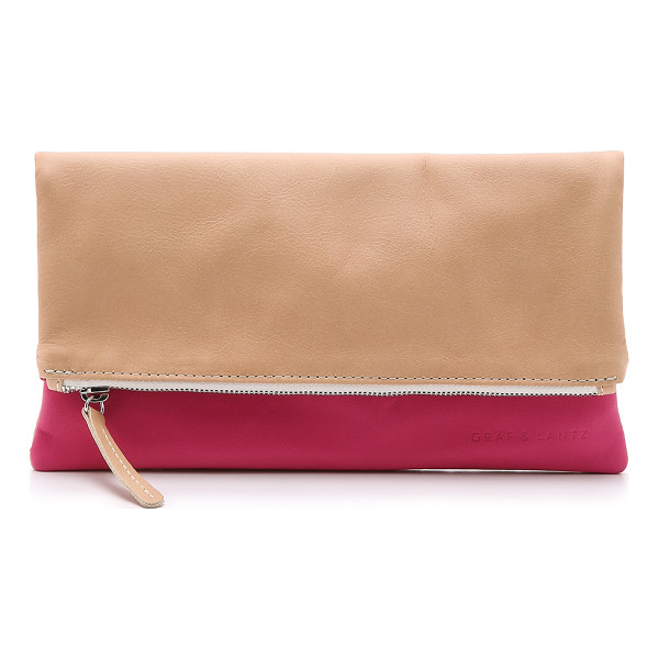GRAF & LANTZ Jodie pouch - A 2 color Graf & Lantz clutch rendered in wrinkled leather