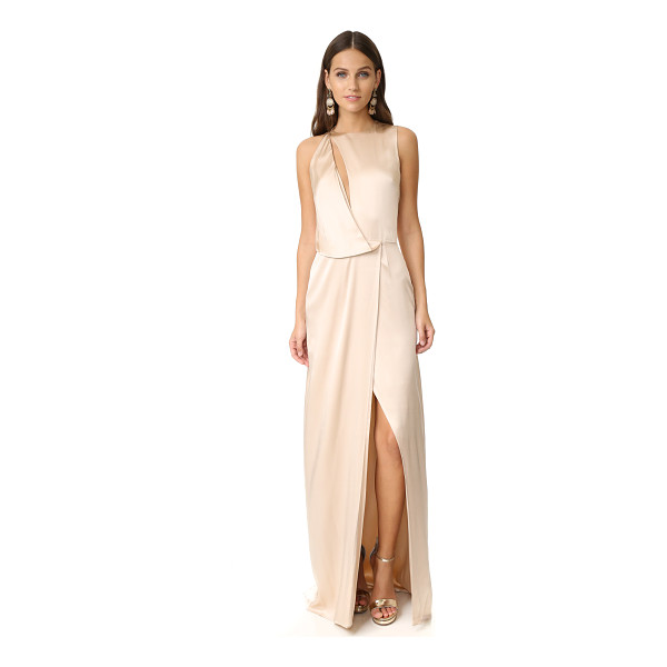 HALSTON draped cutout gown - Angled draping brings fluid elegance to this lustrous silk...
