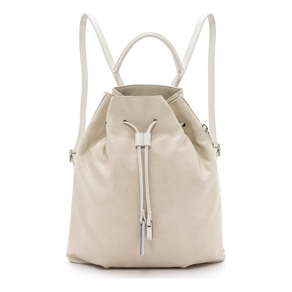 HALSTON HERITAGE Drawstring backpack - Snake embossed leather brings unique texture to this