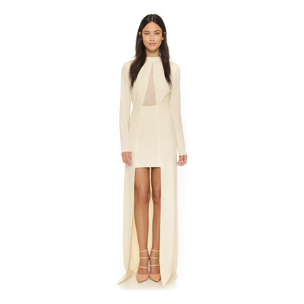 HALSTON High / low mock neck gown - An exaggerated slit brings drama to this Halston Heritage...
