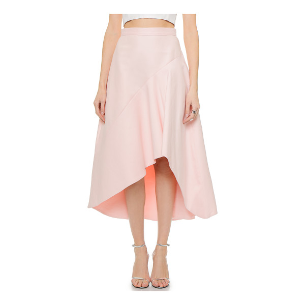 HALSTON High / low skirt - An angled seam and high low hem bring dramatic asymmetry to...