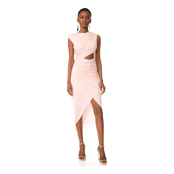 HALSTON round neck draped dress - A delicate Halston Heritage dress with asymmetrical, draped...